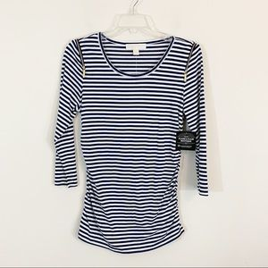 NWT Michael Michael Kors Striped Zip Shoulder Top